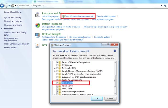 פיטילון שרותי מחשוב - Telnet in Windows 7