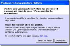 פיטילון שרותי מחשוב - נפתר: Windows Live Communication Platform Error